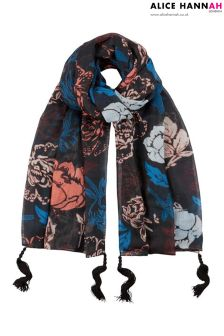 Alice Hannah Floral Woven Scarf With Tassel Trimmings