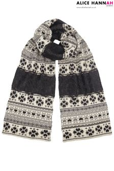 Alice Hannah Lace Trim Fairsle Scarf