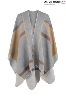Alice Hannah Geometric Brushed Cape
