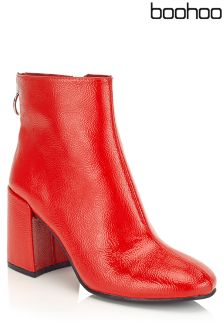 Boohoo Patent Block Heel Ankle Boots