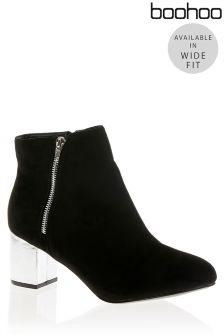Boohoo Wide Fit Metallic Heel Ankle Boots