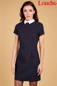Louche Check Contrast Collar Shift Dress