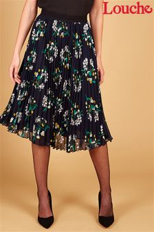 Louche Floral Print Pleated Midi Skirt