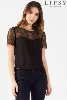 Lipsy Lace Insert Sweetheart Short Sleeve Blouse