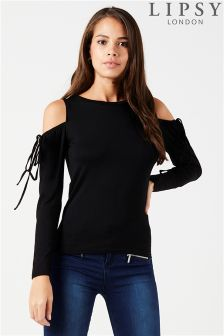 Lipsy Cold Shoulder Long Sleeve Frill Top