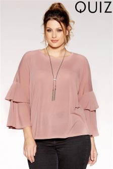 Quiz Curve Knit Frill Sleeve Top
