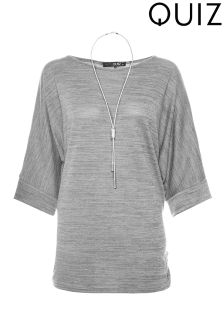 Quiz Curve Batwing 3/4 Sleeve Necklace Top