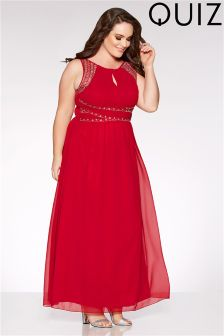 Quiz Curve Berry Chiffon Embellished Maxi Dress
