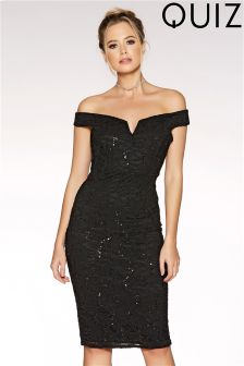 Quiz Sequin Bardot Midi Dress