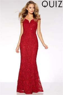 Quiz Lace Sequin Bardot Maxi Dress