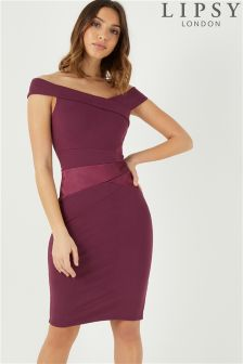 Lipsy Satin Panel Bardot Bodycon Dress