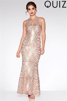 Quiz Sequin Keyhole Maxi Dress