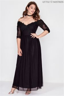 Little Mistress Curve Lace Sleeve Maxi Dress