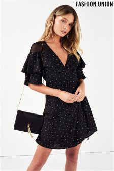 Fashion Union Polka Dot Spot Wrap Dress
