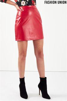 Fashion Union Faux Leather Mini Skirt