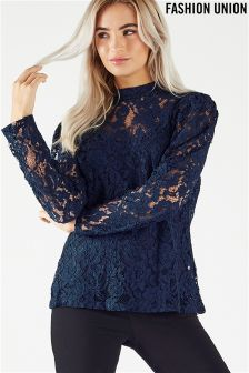 Fashion Union Long Sleeved Lace Blouse
