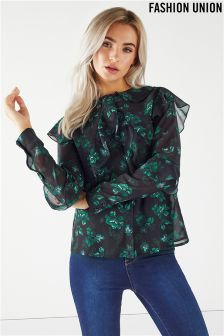 Fashion Union Printed Ruffle Blouse