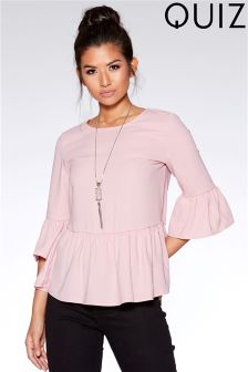 Quiz Crepe Frill Sleeve Top