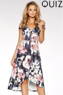 Quiz Printed Bardot Dip Hem Dress