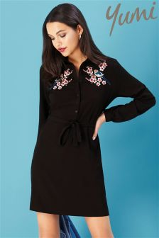 Yumi Oriental Botanical Embroidered Tunic Dress
