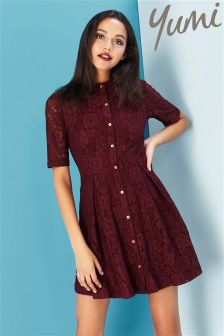 Yumi Fit And Flare Lace Shirt Dress
