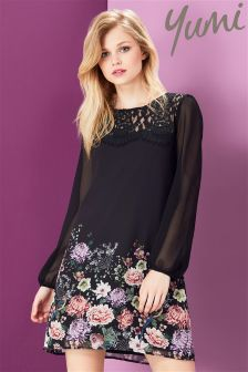 Yumi Oriental Botanical Tunic With Lace Yoke