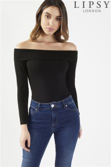 Lipsy Long Sleeve Bardot Bodysuit