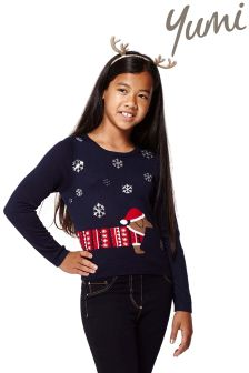 Yumi Girl Sausage Dog Christmas Jumper