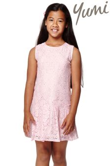 Yumi Girl Dropped Waist Foiled Lace Dress