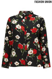 Fashion Union Curve Floral Print Shirt