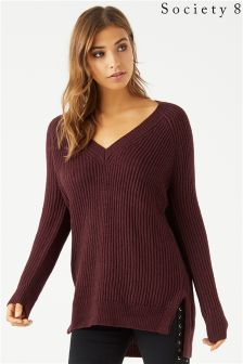 Society 8 Ribbed V neck Jumper
