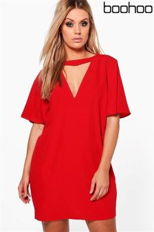 Boohoo Plus Choker Detail Frill Sleeve Shift Dress