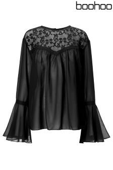 Boohoo Plus Lace Panel Frill Cuff Blouse