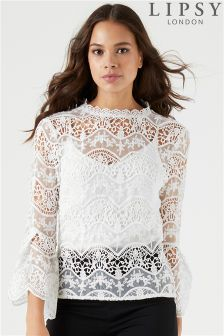 Lipsy All Over Lace Frill Sleeve