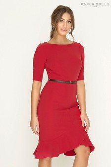 Paper Dolls Mock Wrap Peplum Dress
