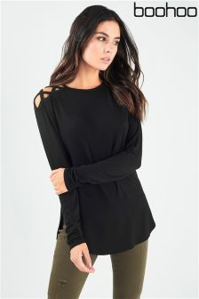 Boohoo Long Sleeve Cross Shoulder Top