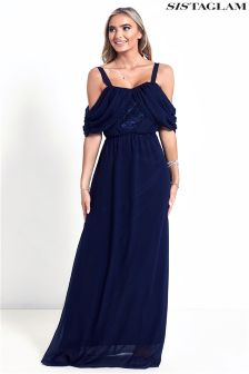 Sistaglam Cold Shoulder Maxi Dress