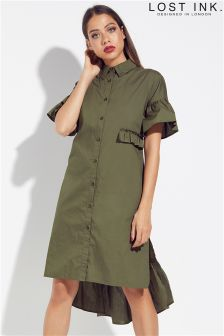 Lost Ink Double Layer Shirt Dress