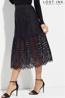 Lost Ink Square Lace Midi Skirt