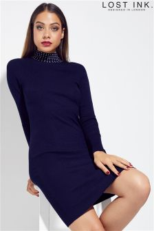 Lost Ink Pearl Collar Bodycon Dress
