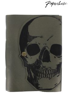 Paperchase Bloom Noir Leather Skull Notebook