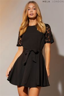 Mela London Lace Fit And Flare Skater Dress