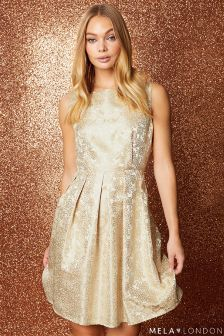 Mela London Embossed Rose Skater Dress