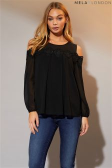 Mela London Lace Detail Cold Shoulder Top