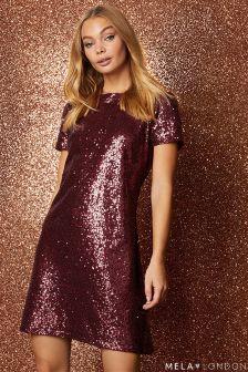 Mela London Capped Sleeve Sequin Skater Dress
