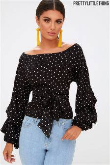 PrettyLittleThing Polka Dot Bow Tie Top