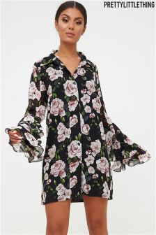 PrettyLittleThing Floral Print Shirt Dress