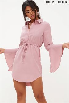 PrettyLittleThing Flute Sleeve Shirt Dress