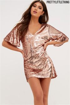 PrettyLittleThing Sequin V neck Oversized Dress