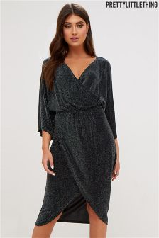 PrettyLittleThing Archer Speckled Lurex Wrap Dress